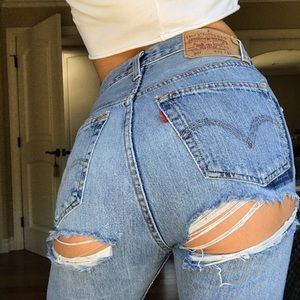 Levi's Jeans - Levi's Ass Rip Jeans Wedgie butt slit Re/Done